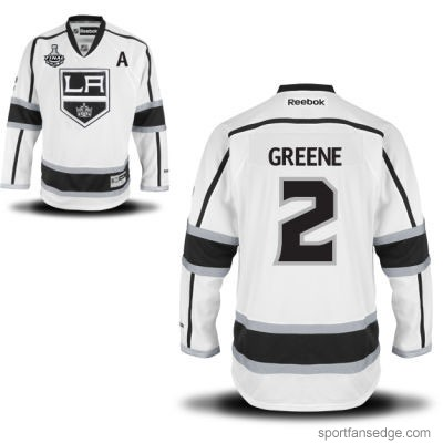 Men's | Reebok NHL Los Angeles Kings #2 Matt Greene Road White A Patch Stanley Cup Jersey | Authentic